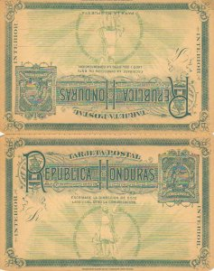 Honduras Higgins & Gage 15 Unused with crease at bottom left and some separat...