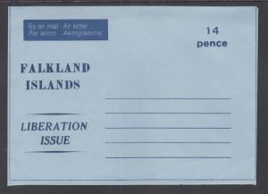 Falkland Islands c. 1982 mint 14p & 15p Aerogrammes, 2 different, fresh & VF