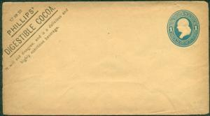 1870'S 1¢ envelope with PHILLIP'S COCOA ADVERTISING, unused, VF