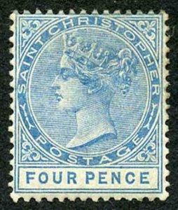 St Kitts-Nevis SG17 4d Blue Wmk Crown CA M/Mint