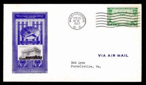 1937 U.S. #C21 FIRST DAY COVER - WASHINGTON, DC VIA AIRMAIL - $45.00  (ESP#4531)