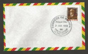 1984 Bolivia Boy Scout 75th anniversary ovpt FDC