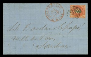 CHILE 1865 COLUMBUS 5c orange red Sc# 9b cxl INUTIL on FL fr/ VAL. to Santiago