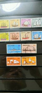 SINGAPORE 1980 SHIP SERIES FULL SET WITH HIGH VALUE SET  IN USED CONDITION