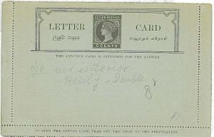 POSTAL HISTORY : CEYLON - POSTAL STATIONERY LETTER CARD with REPLY CARD