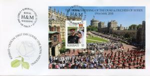 Kiribati 2018 FDC Prince Harry Meghan Royal Wedding 1v M/S Cover Royalty Stamps
