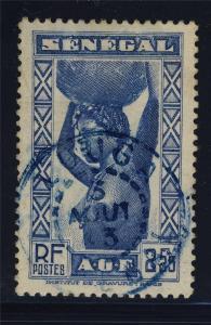 SENEGAL - 1943 - CACHET À DATE BLEU DE LOUGA SUR 2fr25 BLEU (Yv.168)