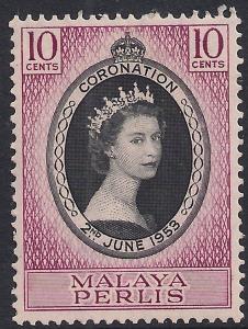 Malaya Perlis 1953 QE2 10ct Coronation MM SG 28 ( R1185 )
