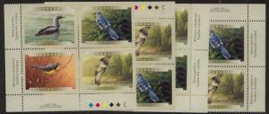 Canada USC #1842a Mint MS Imprint Blocks VF-NH Face $7.36 2000 Birds of Canada