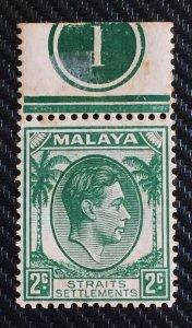 Malaya Straits Settlements 1937 KGVI 2c Die I MNH Margin Plate 1 SG#279 M3199