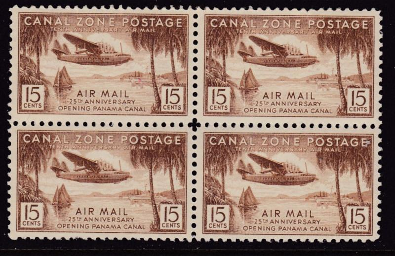 Canal Zone 1938 15 cent Air Mail Block of Four Clipper over Fort Amador VF/NH