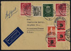 Germany B314, Berlin 9N37,42,64,68 on airmail cover, Berlin to USA Dec 22 1950