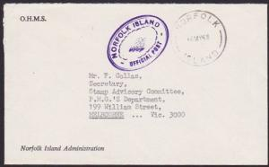 NORFOLK IS 1968 small official cover to Australia..........................67271