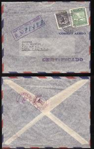#7848 -  Chile-1941 Santiago registered air to USA     -