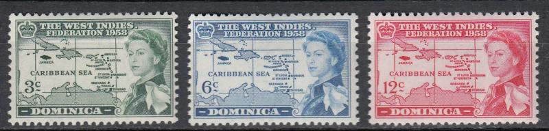 Dominica - 1958 West Indies Sc#161/163 - MNH (65)