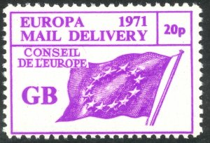 GREAT BRITAIN 1971 STRIKE POST EUROPA Label COUNCIL OF EUROPE FLAG MNH