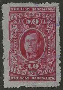 Mexico Revenue 1891-92 Renta Interior Arista 10P Carmine VF Used CV 25.00