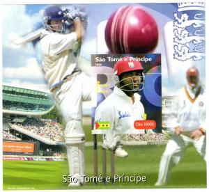 St Thomas & Prince 2004 Cricket Brian Lara SS Imperf.MNH