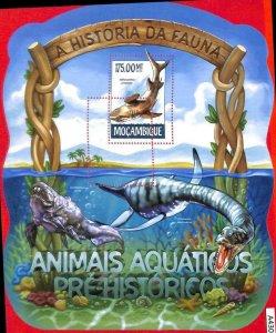 A4307 - MOZAMBIQUE - ERROR MISPERF, Souvenir sheet: 2015 Prehistoric Marine Life