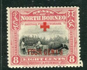 NORTH BORNEO; 1918 early Red Cross FOUR CENTS surcharge Mint hinged 8c.