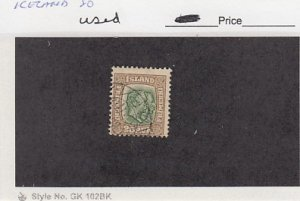 J25791  jlstamps 1907-8  iceland used #80 kings