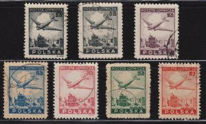Poland # C13 - C18 , Plane over Ruins of Warsaw , F-VF used set - I Combine S/H