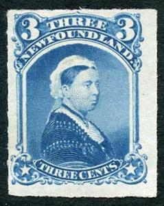 Newfoundland SG42 1879 3c Rouletted Mint Fine Fresh Stamp