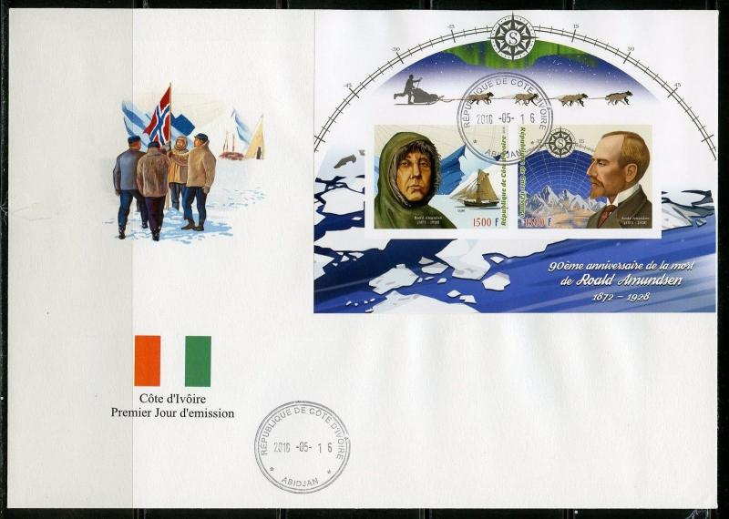 IVORY COAST 2018 90th MEMORIAL ANN OF ROALD AMUNDSEN IMPERF  SHEET  OF TWO  FDC