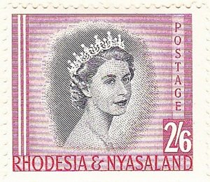 RHODESIA & NYASALAND 1954 EQII 2/6 Black & Rose-Red SG12 MH