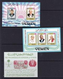Yemen a small mint lot includes 3 mini sheets