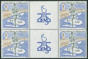 St Pierre & Miquelon 549 gutter block/4,MNH.Mi 596. Runner,Map,Bird,Lighthouse.