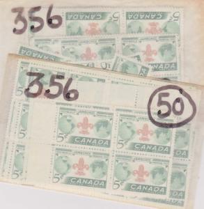 Canada - USC#356 mint x 100 inc. blocks and plate blocks - F-VF-NH