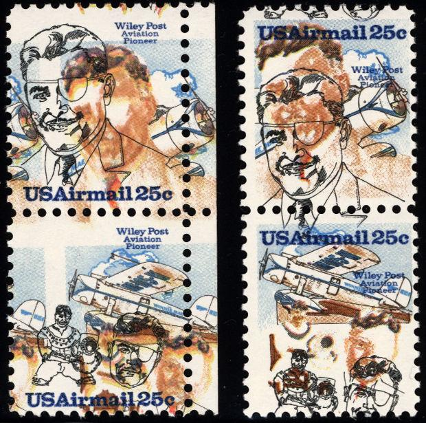 #C95 & #C96 25c 1979 Air Post Vert Pairs Massive Color Shift Errors 2 Items