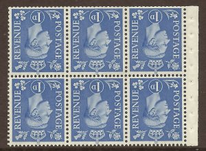 QB15a perf type I -1d Light Ultramarine Booklet pane UNMOUNTED MINT