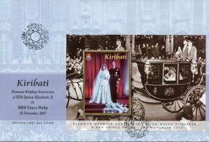 Kiribati 2007 FDC Diamond Wedding Queen Elizabeth II Philip 1v M/S Cover Stamps