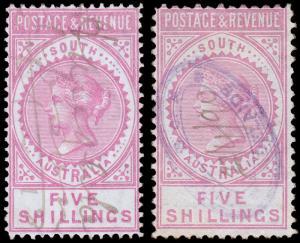 South Australia Scott 82, 82a (1886) Used F-VF, CV $40.00 M