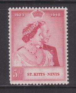 St. KITTS NEVIS, 1948 Silver Wedding 5s., mnh..