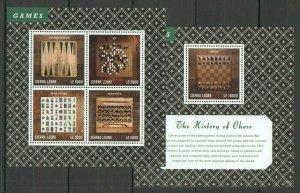 V1066 2013 SIERRA LEONE SPORT HISTORY OF CHESS #5829-32 MICHEL 24 EURO KB+BL FIX