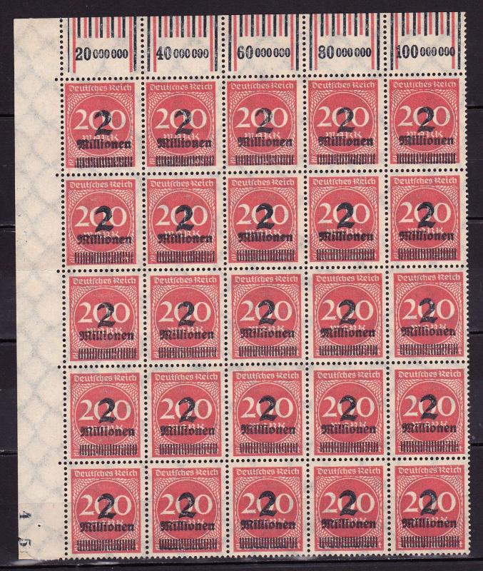 Germany 1923, 2 Million on 200 Marks, block with 25