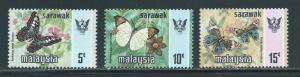 Malaysia Sarawak 244-46 Butterflies part set MNH