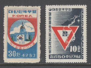 Korea Sc 118, 195 MNH. 1950 National Assembly and 1953 YMCA issues, 2 cplt sets