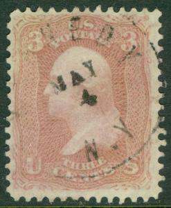 USA : 1861. Scott #64b Very Fine & Fresh stamp with neat cancel. Catalog $150.