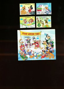 DOMINICA - Scott 954-958  VFMNH - DISNEY - Stamp Collecting - 1986