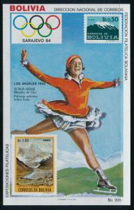 Bolivia - Sarajevo Olympic Games MNH Sheet Figure Skating (1984)
