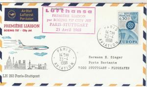 Rep.France 1968 Europa 1st Flight Paris-Stuttgart Aviation Stamps Cover Rf 28772