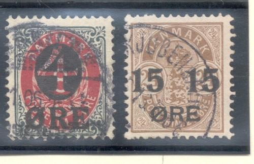 Denmark Sc 55-6 1904 4 & 15 ore overprints stamp set used