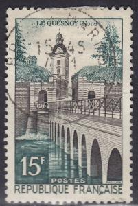 France 837 USED 1957 North Le Quesnoy Bridge 15Fr