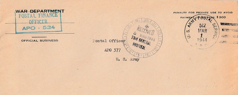 United States A.P.O.'s War Department Postal Finance Officer Penalty 1944 U.S...