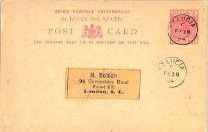 Saint Lucia 1d QV Postal  Card 1894 St. Lucia to London, England.  Philatelic.
