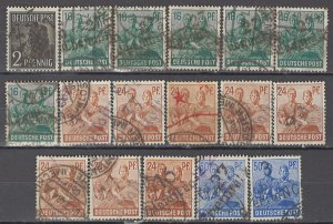 COLLECTION LOT OF #1154 GERMANY OCCUPIED 17 LOCAL OVERPRINTED STAMPS 1947